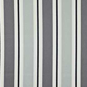 Canford - Denim - Classic vertical stripes in black, white and two different shades of grey printed on fabric made from 100% cotton