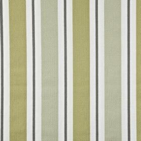 Canford - Willow - Fabric made from 100% cotton, featuring a vertical stripe design in black, white and light shades of silver and gold