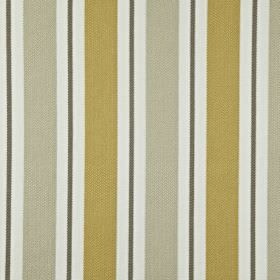 Canford - Jonquil - White, charcoal, silver and light gold coloured vertical stripes printed on fabric made entirely from cotton
