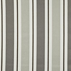 Canford - Sterling - 100% cotton fabric printed with classic vertical stripes in black, white and two different shades of grey