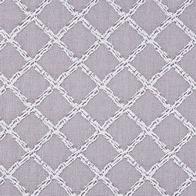 Charlbury - Mulberry - A white grid flecked with indigo, placed on a background of plain, light blue-grey coloured 100% cotton fabric