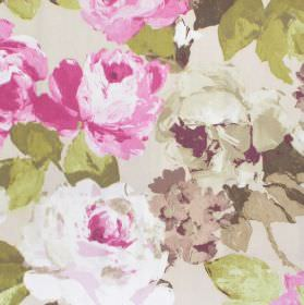 Willoughby - Mulberry - Fabric with mulberry pink watercolour flowers