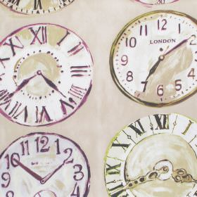 Greenwich - Mulberry - Mulberry purple clock patterned fabric