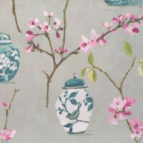 Ginger Jars - Verdi - Verdy pink blooming flowers and ginger jars on grey fabric