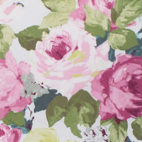 Willoughby - Verdi - Fabric with verdi pink watercolour flowers