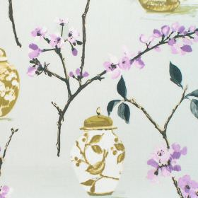 Ginger Jars - Dusk - Dusk purple blooming flowers and ginger jars on light grey fabric