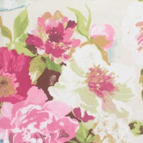Upton Manor - Rose - Detailed rose pink watercolour flowers on white fabric