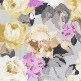 Willoughby - Dusk - Dusk purple watercolour flowers on light grey fabric