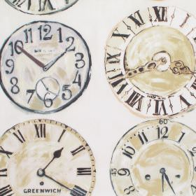 Greenwich - Linen - Linen brown clock patterned fabric