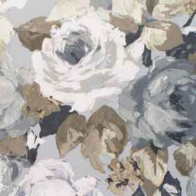 Willoughby - Onyx - Light grey fabric with onyx grey watercolour flowers