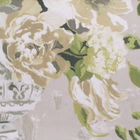 Upton Manor - Willow - Detailed willow green watercolour flowers on light sandy fabric