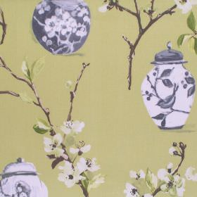 Ginger Jars - Willow - White blooming flowers and ginger jars on willow green fabric