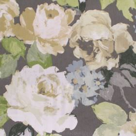 Willoughby - Willow - Black fabric with willow green watercolour flowers