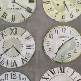 Greenwich - Willow - Willow green clock patterned fabric