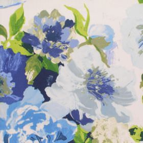 Upton Manor - Cobalt - Detailed cobalt blue watercolour flowers on white fabric