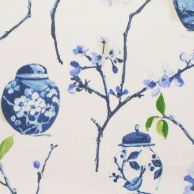 Ginger Jars - Cobalt - Cobalt blue blooming flowers and ginger jars on white fabric