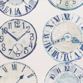 Greenwich - Cobalt - Cobalt blue clock patterned fabric