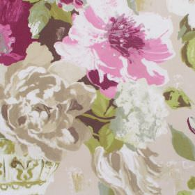 Upton Manor - Mulberry - Detailed mulberry pink watercolour flowers on light sandy fabric