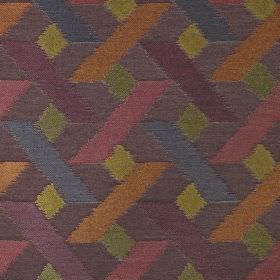 Axis - Magenta - A geometric pattern on viscose, polyester and cotton fabric in dark shades of grey, orange, green, pink, purple and blue