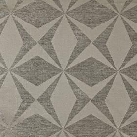 Constellation - Pewter - Two different mid-shades of grey creating solid and semi-plain geoemetric shapes on polyester and cotton blend fabr