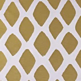 Luna - Sulphur - White fabric made from a mix of cotton and polyester, printed with rows of gold-brown coloured uneven diamonds