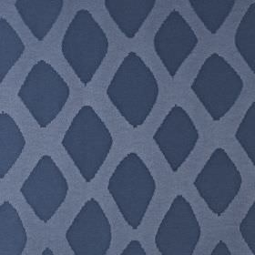 Luna - Electric - Two similar dark shades of blue making up an uneven diamond print pattern on fabric blended from cotton and polyester