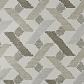 Axis - Latte - Fabric blended from viscose, polyester and cotton in various different shades of grey, with a geometric pattern
