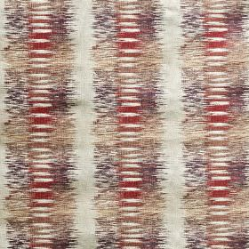 Nova - Fire - Polyester and viscose blend fabric featuring blurred red, white, light grey, dark purple-grey and light brown stripes