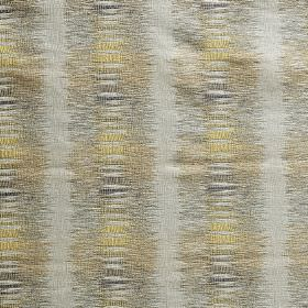 Nova - Sulphur - Light shades of grey and gold making up a blurred vertical line pattern on fabric blended from polyester and viscose