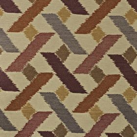 Axis - Fire - Dark shades of red, purple, grey, gold and green making up a geometric pattern on viscose, polyester and cotton blend fabric