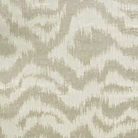 Solar - Oyster - 2 light grey shades making up a random pattern of blurred, horizontal, uneven lines on polyester and cotton blend fabric
