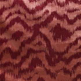 Solar - Fire - Polyester and cotton blend fabric patterned with blurred, uneven, wavy horizontal lines in dusky pink and burgundy