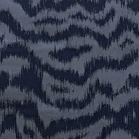 Solar - Electric - Horizontal, wavy, uneven lines creating a random pattern in navy and powder blue on fabric made from polyester & cotton