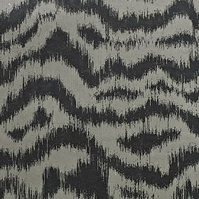 Solar - Sterling - Slate and ash shades of grey making up a random, uneven, blurred wavy line pattern on polyester and cotton blend fabric