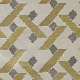 Axis - Sulphur - Gold and dark grey geometric shapes printed on white fabric blended from viscose, polyester and cotton