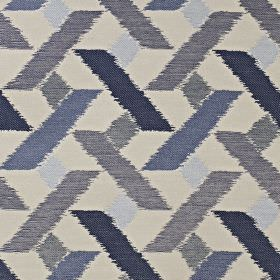 Axis - Electric - Cream viscose, polyester and cotton blend fabric printed with geometric shapes in several dark shades of blue-grey