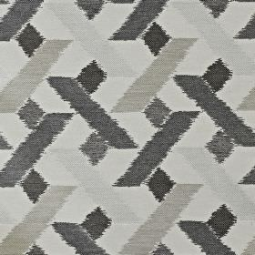 Axis - Sterling - Viscose, polyester and cotton blend fabric featuring a geometric shape pattern in charcoal and icy shades of grey