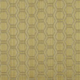 Avena - Chartreuse - Outlines of hexagons printed in rows in grey on light green-yellow coloured fabric made from cotton and polyester