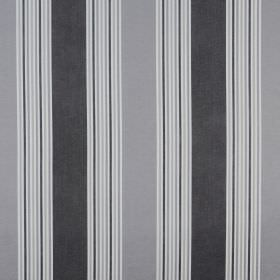 Elderberry - Sterling - 100% cotton fabric printed with a design of wide and narrow vertical stripes in white, slate grey and iron grey