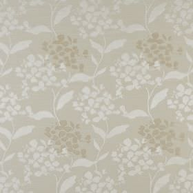 Hydrangea - Oyster - Simple white and greey-grey petals and leaves printed on a polyester and cotton fabric background in an even paler grey
