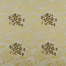 Hydrangea - Chartreuse - Pale grey polyester and cotton fabric behind a simple design of petals and leaves printed in gold and dark forest g