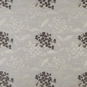 Hydrangea - Praline - Fabric made from polyester and cotton in light grey, printed with a simple leaf and petal design in silver and charcoa