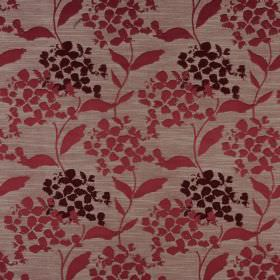 Hydrangea - Cranberry - Raspberry, dark chocolate and grey coloured fabric made from polyester and cotton with a simple petal and leaf desig