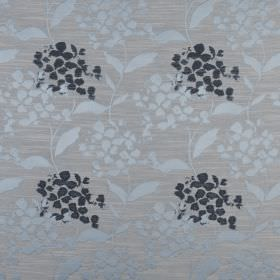 Hydrangea - Bluebell - Petal and leaf patterned polyester and cotton blend fabric with a simple design in ice blue, blue-grey and midnight b