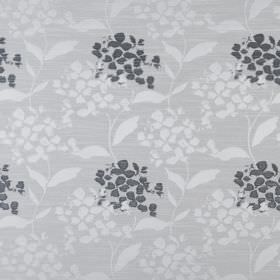 Hydrangea - Sterling - White and slate coloured leaves and petals printed in a simple design on pale grey fabric made from polyester and cot