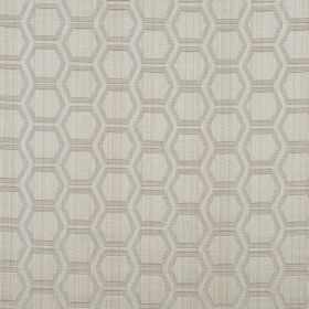 Avena - Praline - Fabric made from light grey coloured cotton and polyester, patterned with rows of iron grey outlines of hexagons