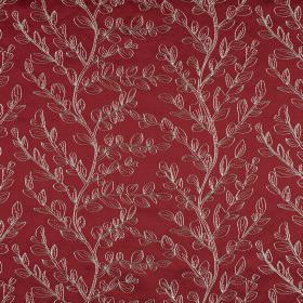 Laurel - Cranberry - Luxurious fabric made from cototn, polyester and viscose in deep burgundy, patterned with simple metallic leaves
