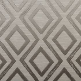 Matico - Mushroom - Silver diamonds and simple zigzags patterning light grey fabric made with a polyester and cotton blend