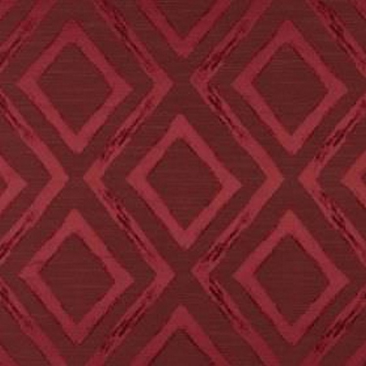 Matico - Cranberry - Two rich, luxurious red shades making up a pattern of diamonds and zigzag lines on fabric made from polyester and cotto