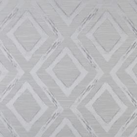 Matico - Sterling - Fabric made from polyester and cotton with a pattern of diamonds and zigzags in several light but stylish shades of grey